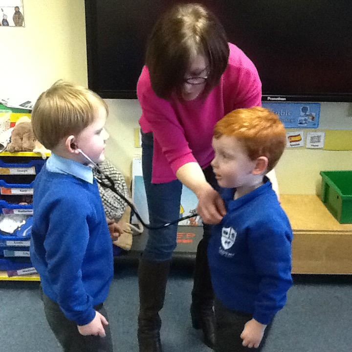 Reuben's mum came to Academy too! She showed us how to use a stethoscope to listen to our heartbeat.