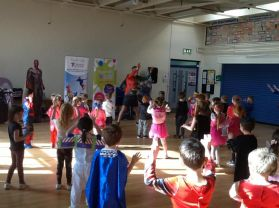 P1 loved exercising with Fitness Freddy today.
